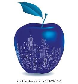 vector illustration of the big blue apple