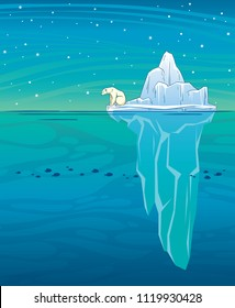 Vector illustration  with big blue iceberg, polar bear, ocean and starry night sky. Wild landscape. Arctic animal.
