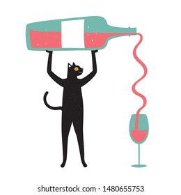 Vector illustration with big bottle of red wine and blue glass. Funny print design, home or bar decoration