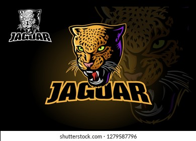Vector illustration of a big cat jaguar or leopard head. Jaguar head in color.