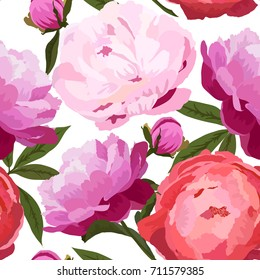 Vector illustration of big, closely spaced peonies flowers. Seamless pattern. Red and violet peonies with green leaves on white background.