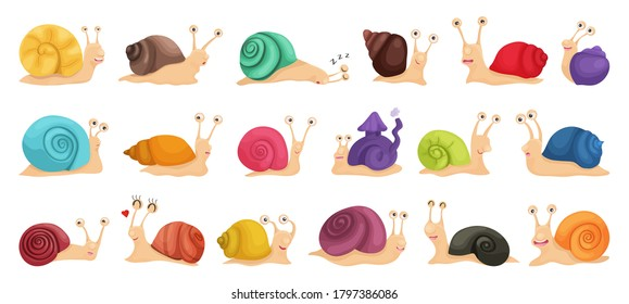 Vector illustration of a big collection of snail characters in cartoon style. Set of multicolored emotional, happy, smiling, funny snails for kids design or speed