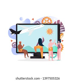 Vector illustration of big computer with plane on monitor and tiny people taking rest at seaside. Summer vacation planning, air travel, booking flight, airline tickets online concept for web banner
