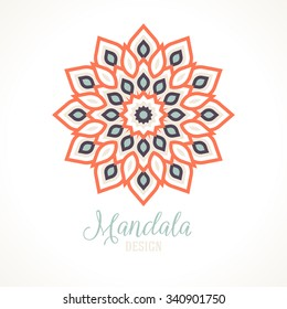 Vector illustration of big detailed mandala. Geometric abstract background.  Concept round ornament for yoga studio, tattoo salon, meditation with Indian, Arabic, ottoman and Moroccan motifs