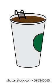 vector illustration of Big Disposable Coffee cup with hot coffee. Coffee Pool concept.