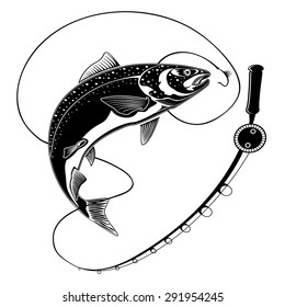 Vector illustration of big fresh salmon fish in waves with fishing rod. Vector illustration can be used for creating logo and emblem for fishing clubs, prints, web and other crafts.