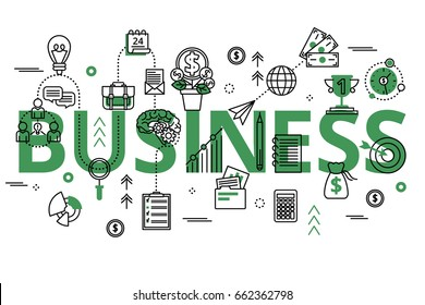 Vector illustration with big green word, business process and finance success. Business concept in modern flat line design for web banners and graphic design.