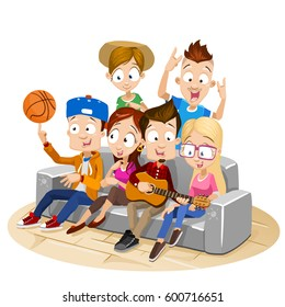 Vector illustration of big group of happy teenagers having fun on the couch. Playing guitar, showing basketball tricks and enjoying time together