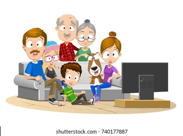 Vector illustration of big happy family watching TV together in living room. Loving family enjoying time watching television together