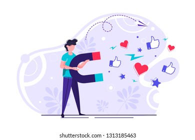 Vector illustration of a big magnet attracts likes, good reviews, rating