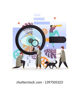 Vector illustration of big magnifying glass and tiny private investigators holding magnifier, taking photo, looking through telescope, walking with dog. Detective services concept for web banner etc.