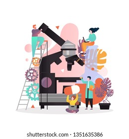 Vector illustration of big microscope and pharmacists, scientists working at lab. Pharmacological business, pharmacy laboratory equipment, pharmaceutical industry concept for web banner, website page.