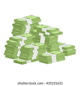 Vector illustration big pile of cash. Concept of big money. Vector isometric illustration in flat style. American dollars, pack, parcel, batch, package modern design isolated on white background.