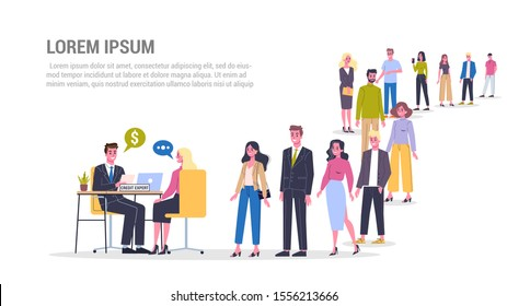 Vector illustration of big queue of people standing towards a credit expert. Credit concept web banner. Idea of banking system and payment. People in the long crowd waiting for their turn.
