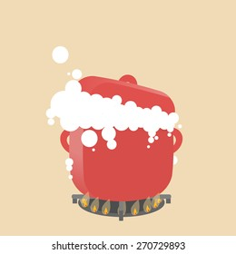 Vector illustration of the big red pot. Hot water or milk boiling and opening the dish.