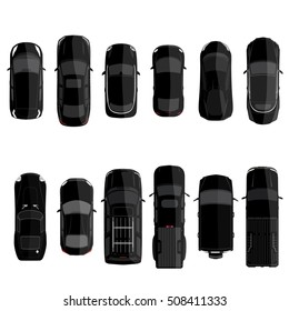 Vector illustration big set, collection black cars top view. Sport car, pickup truck, sedan, small mini car and offroad car