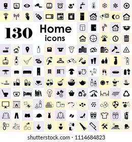 vector illustration of big set of home interior kitchenware decoration icons