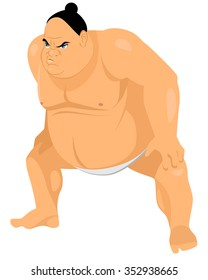 Vector illustration of a big sumo wrestler