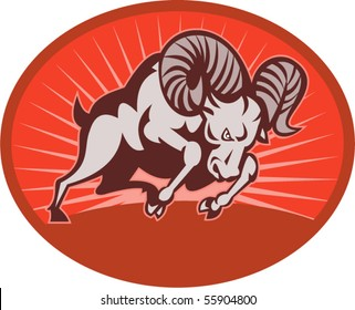 vector illustration of a Bighorn sheep or ram attacking with sunburst in the background set inside an oval.