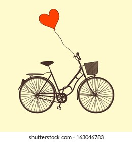 Vector Illustration with bike and balloon
