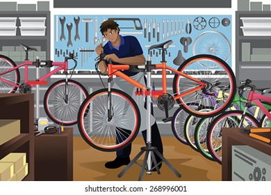 A vector illustration of bike repairman repairing a bicycle in his shop