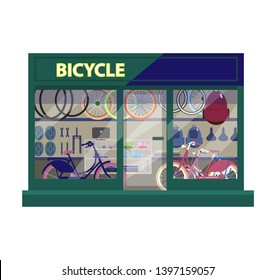 Vector  illustration of bike shop exterior. Shop showcase with bicycles and sport equipment. Flat style.