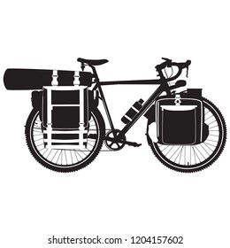 Vector illustration of bikepacking bike with bikepacking bags and tent in case. Touring bicycle with bikepacking gear black silhouette on white background.