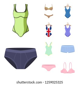 Vector illustration of bikini and fashion symbol. Collection of bikini and swimsuit stock symbol for web.