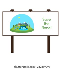 Vector illustration bilboard with green energy. Wind turbines, hydroelectric power, solar panels, power, nature.