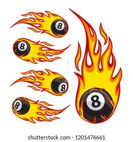 Vector illustration of a billiard ball in fire