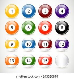 Vector Illustration of Billiard Balls