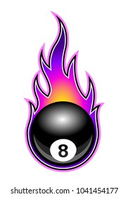 Vector illustration of billiards pool snooker 8 ball with simple flames. Ideal for stickers, decals, sport logo design element and any kind of decoration.