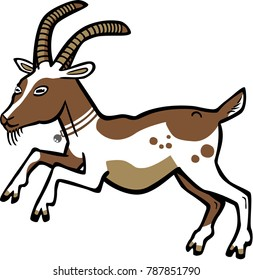Vector illustration of a billy goat wearing a collar and bell, leaping or rearing up
