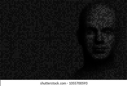 Vector Illustration of binary code numbers composing a human face on the right side of the illustration as a metaphor for Artificial Intelligence