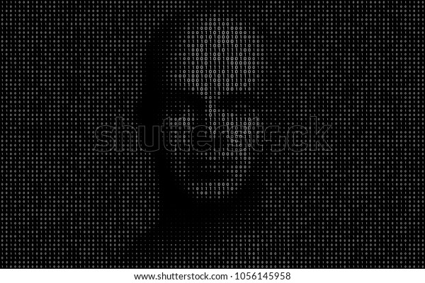 Vector Illustration of binary code numbers composing a human face as a  metaphor for Artificial Intelligence