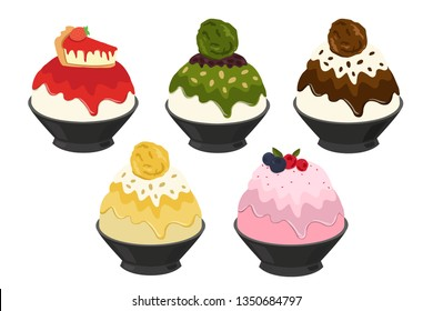 Vector illustration of Bingsu,most popular dessert korean and thailand