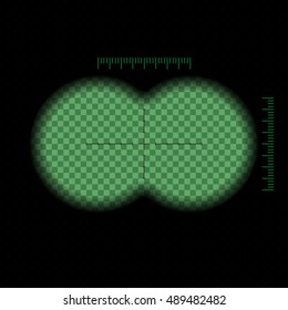 Vector illustration. Binoculars night green view transparent with soft edges and crosshair. Design concept for film, web, graphic design.