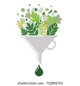 vector illustration of biofuel concept with green leaves filter and drop of oil as a result of biomass proceeding