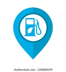 Vector illustration of biofuel location icon. Map pointer symbol for website and app. Biofuel sign inside pinpoint.