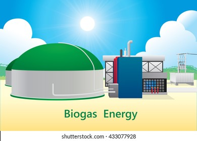Vector illustration of biogas energy/biogas power plant.