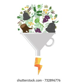 vector illustration of biomass usage for producing electricity concept with food waste and garbage proceeding