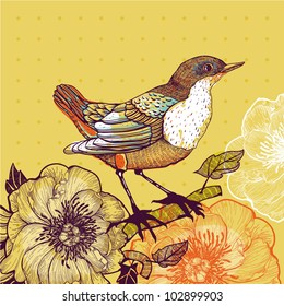vector illustration of a bird and blooming flowers on a yellow background
