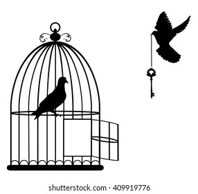 vector illustration of a bird cage open with doves flying with a key