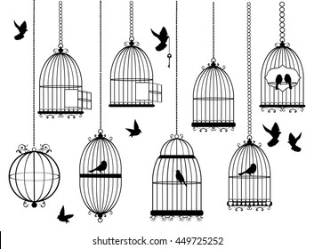 vector illustration of bird cages with flying birds