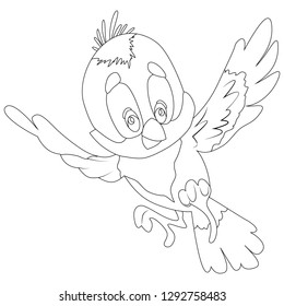 vector illustration, bird cartoon image in black and white, coloring