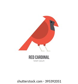 Vector illustration of a bird red cardinal made in modern flat style. Graphical animal collection. Logo or label for your company isolated on background.