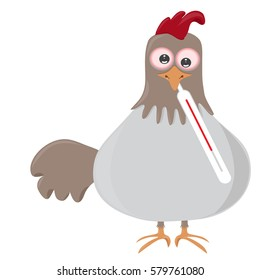 vector illustration of bird with thermometer, having bird flu also known as h5n1 or h5n8.