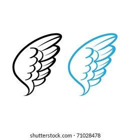 Vector illustration of Bird wing white feathers dove swan angel