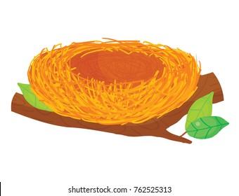 Vector illustration of bird's nest on tree branch against white background