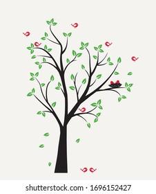Vector illustration of Birds on a Green Tree. Flying Birds. Nest.
